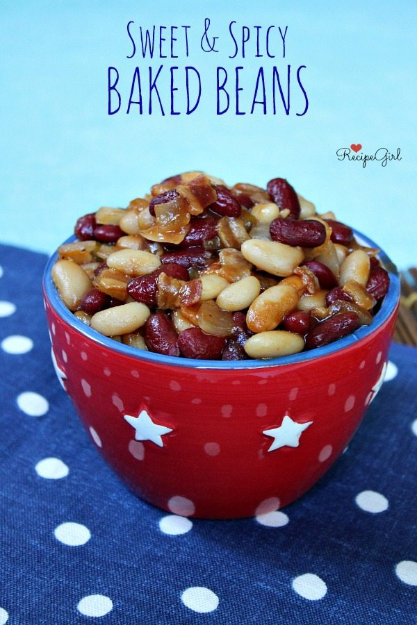 Sweet and Spicy Baked Beans in a red bowl with white stars