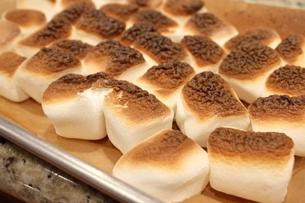 toasting marshmallows on a baking sheet