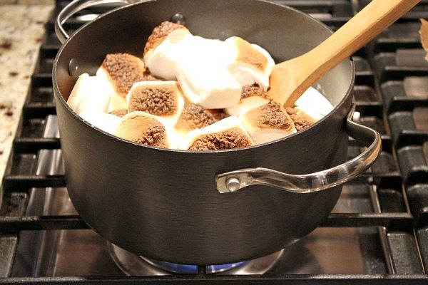 melting toasted marshmallows into an ice cream base for ice cream
