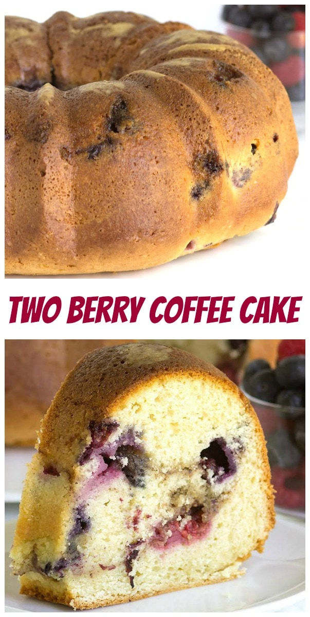 Pinterest collage image for two berry coffee cake
