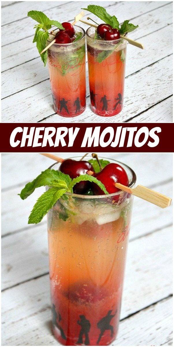 pinterest collage image for cherry mojitos