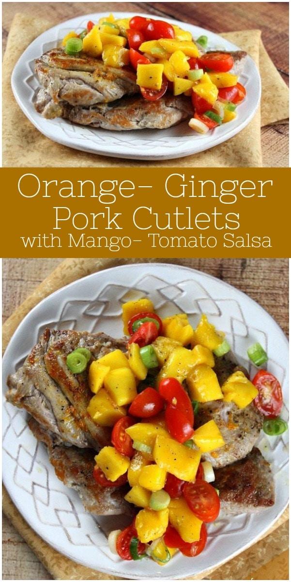 Orange Ginger Pork Cutlets with Mango Tomato Salsa