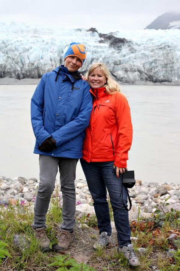 Brooks and Lori in Alaska at Child's Glacier