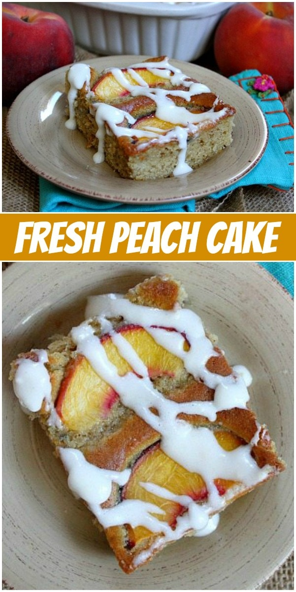 pinterest collage image for fresh peach cake