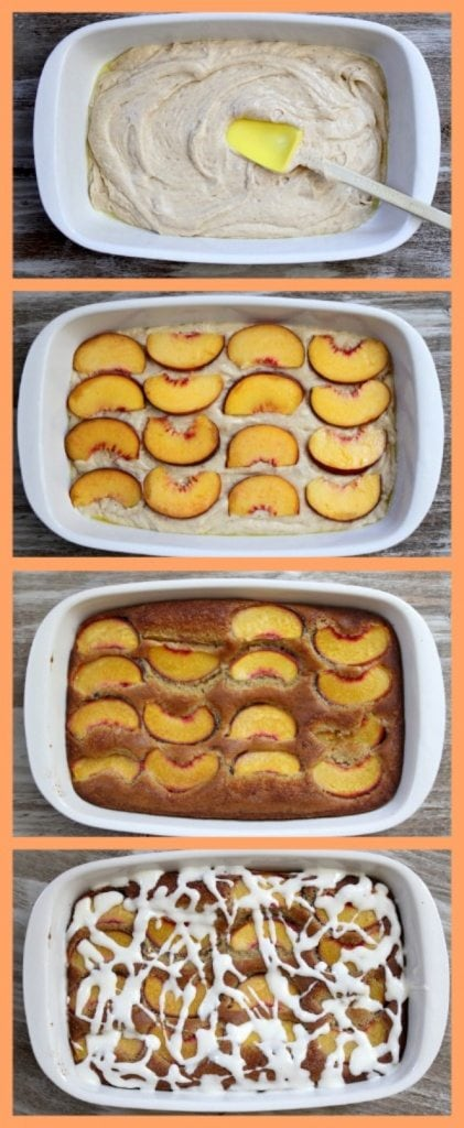 4 photos of showing process of assembling fresh peach cake- batter, then batter topped with fresh peaches, then cake vaked, then glaze on top