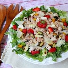 Grilled Chicken and Vegetable Strawberry- Caesar Pasta Salad