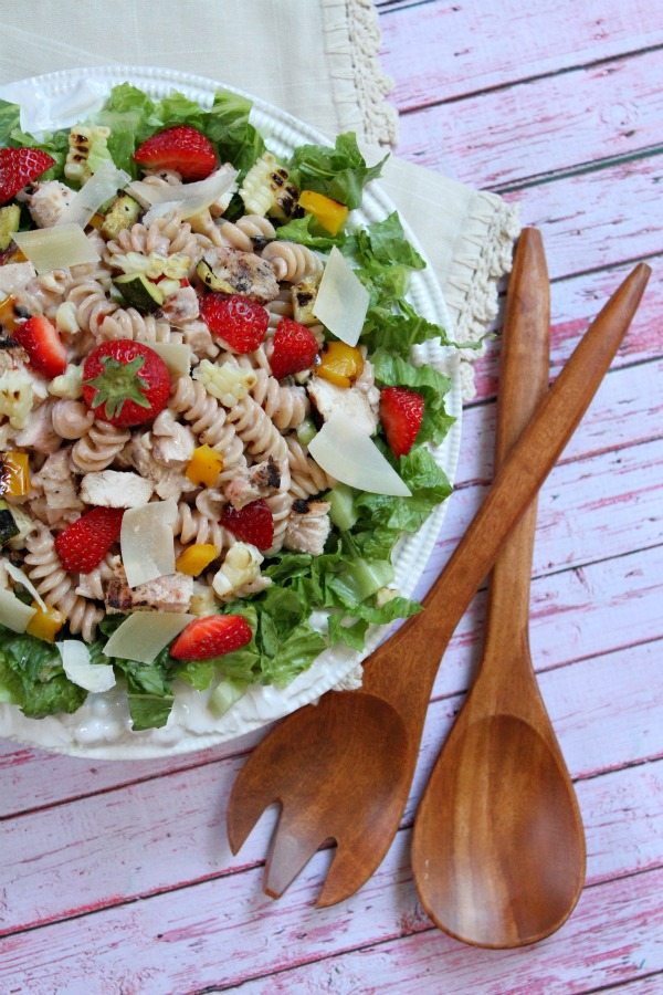 Grilled Chicken and Vegetable Strawberry- Caesar Pasta Salad #recipe - RecipeGirl.com