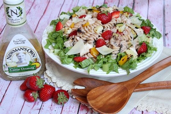 Grilled Chicken and Vegetable Strawberry- Caesar Pasta Salad #recipe
