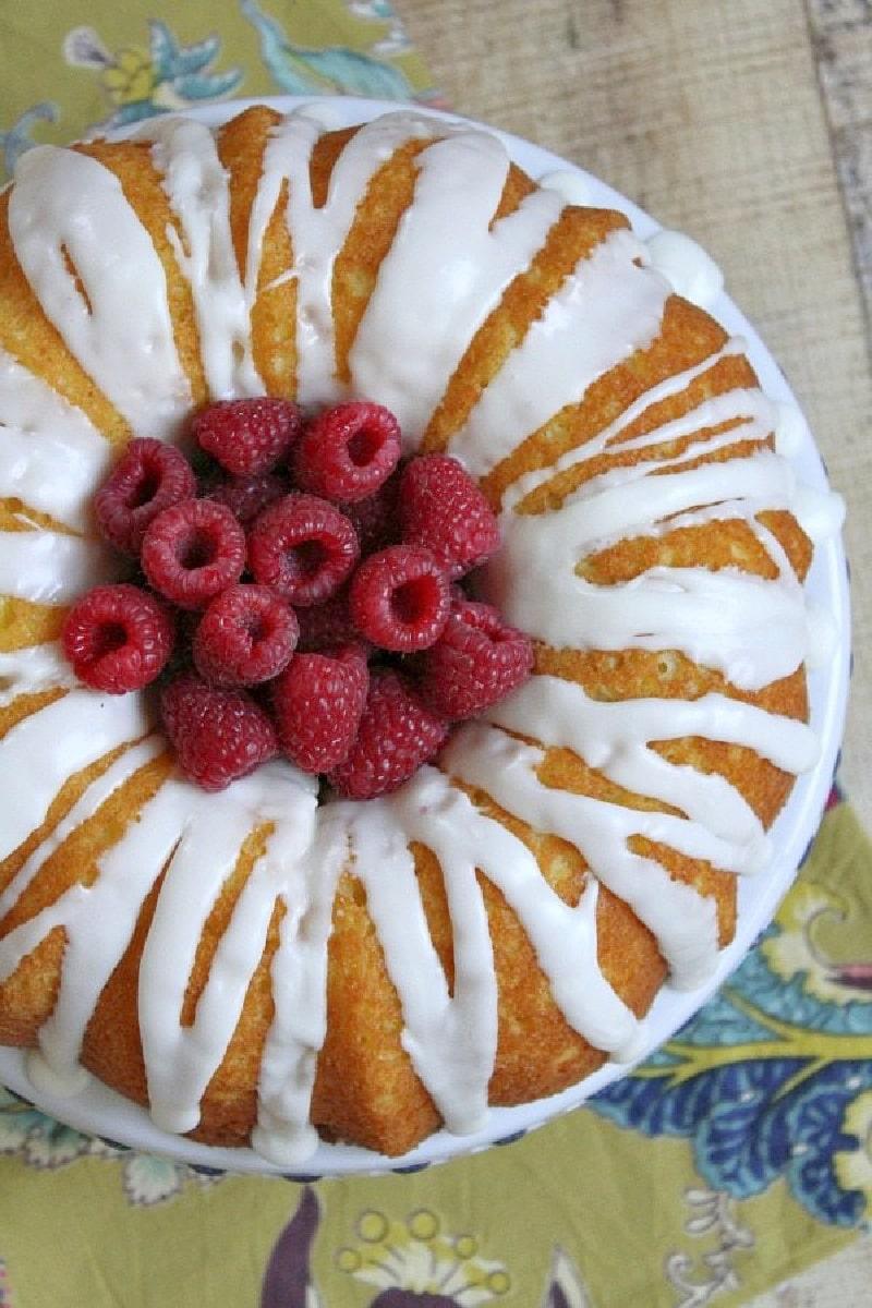raspberry lemonade bundt cake with fresh raspberries