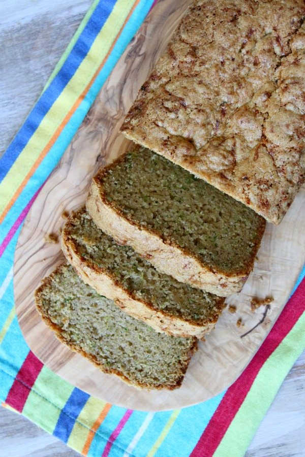 Zucchini bread load sliced on cutting board