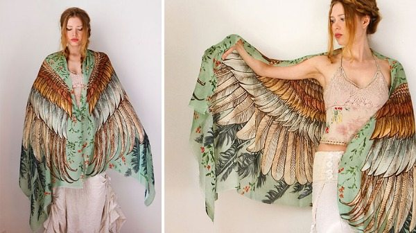Scarf with wings
