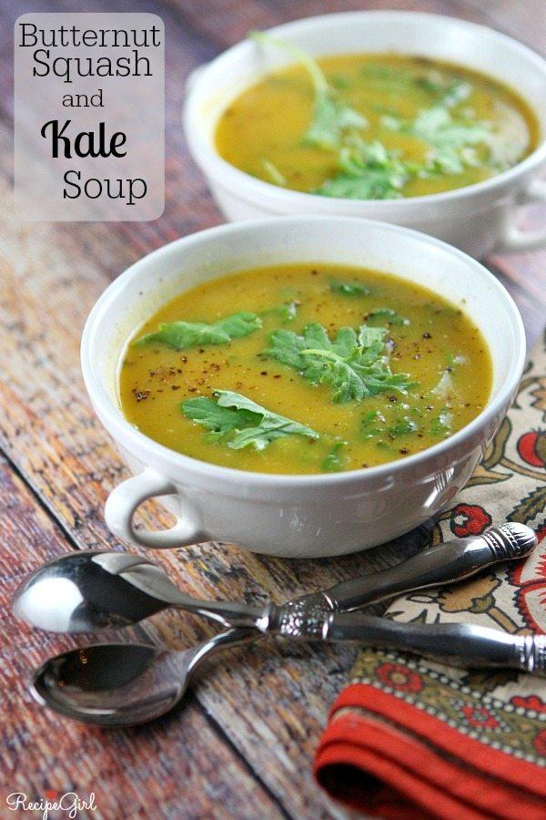 Butternut Squash and Kale Soup Recipe -- RecipeGirl.com