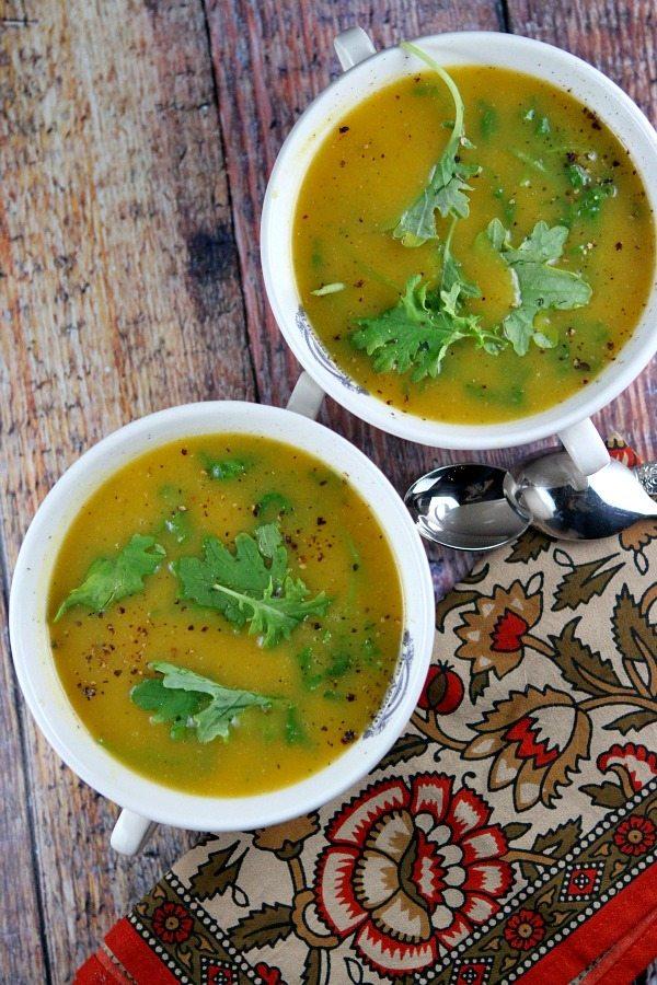 Butternut Squash Soup with Kale recipe by RecipeGirl.com