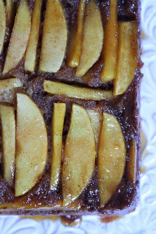 Caramel Apple Upside Down Cake #recipe - RecipeGirl.com