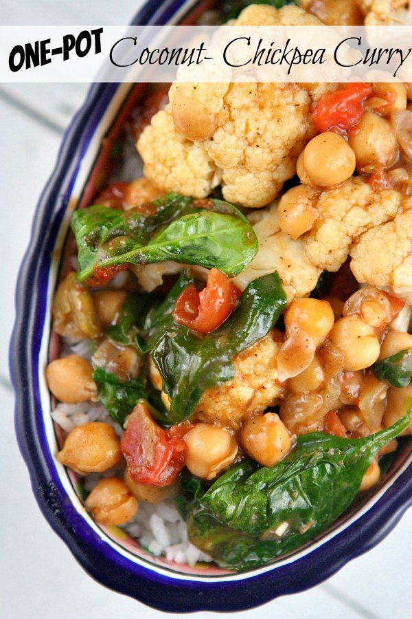 One Pot Coconut Chickpea Curry #recipe - RecipeGirl.com