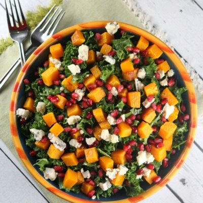 bowl of kale salad with butternut squash