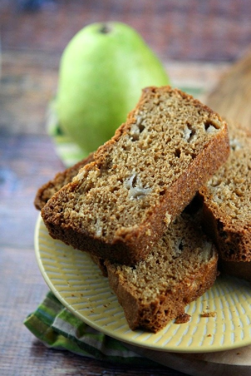 slices of pear bread on a plate