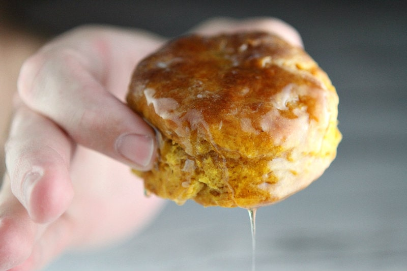 Pumpkin Biscuits topped with butter and honey