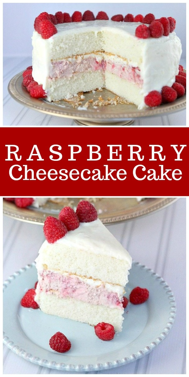 This Raspberry Cheesecake Cake is the perfect, pretty cake for celebrations! #raspberry #cheesecake #cake #recipe