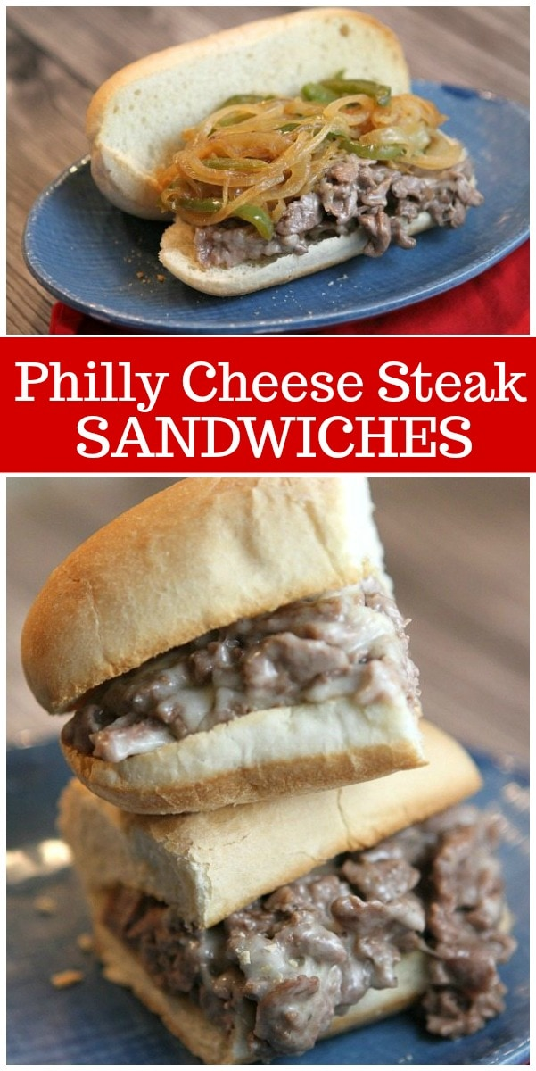 Philly Cheese Steak Sandwiches recipe from RecipeGirl.com #philly #cheese #steak #cheesesteak #sandwiches #recipe #RecipeGirl