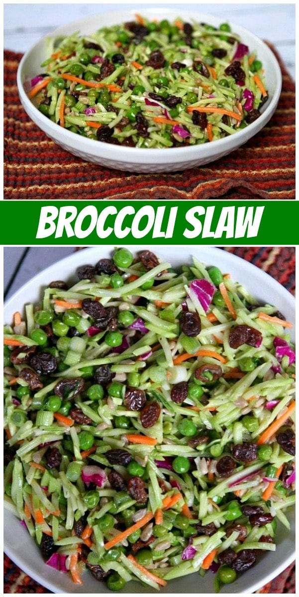 pinterest collage image for Broccoli Slaw