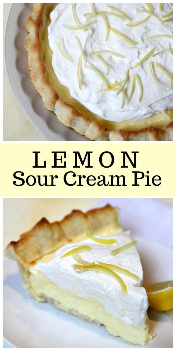 Lemon Sour Cream Pie recipe from RecipeGirl.com #lemon #sourcream #pie #recipe #RecipeGirl