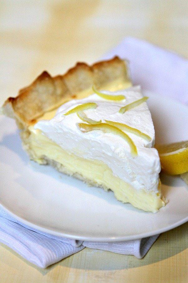 Slice of Lemon Sour Cream Pie