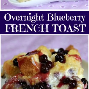pinterest collage image for overnight blueberry french toast