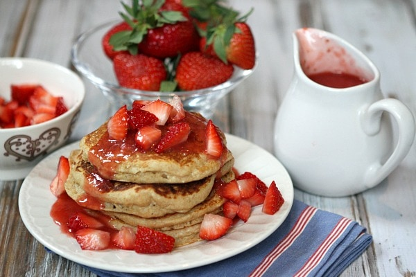 Strawberry Ricotta Whole Wheat Pancakes