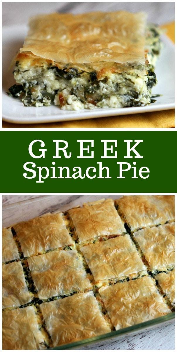 Greek Spinach Pie Recipe from RecipeGirl.com #Greek #spinach #pie #recipe #spanakopita #RecipeGirl
