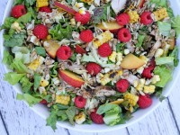 Grilled Chicken Summer Salad with Candied Sunflower Seeds