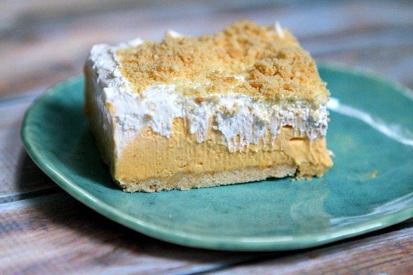 No Bake Pumpkin Shortbread Bar on a plate