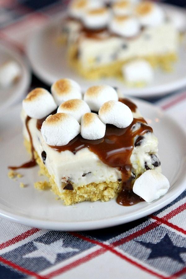 No Bake S'Mores Cheesecake Bars Recipe - RecipeGirl