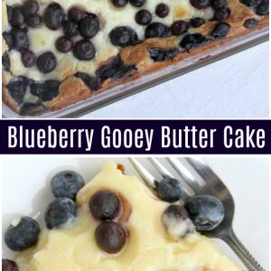 pinterest collage image for blueberry gooey butter cake