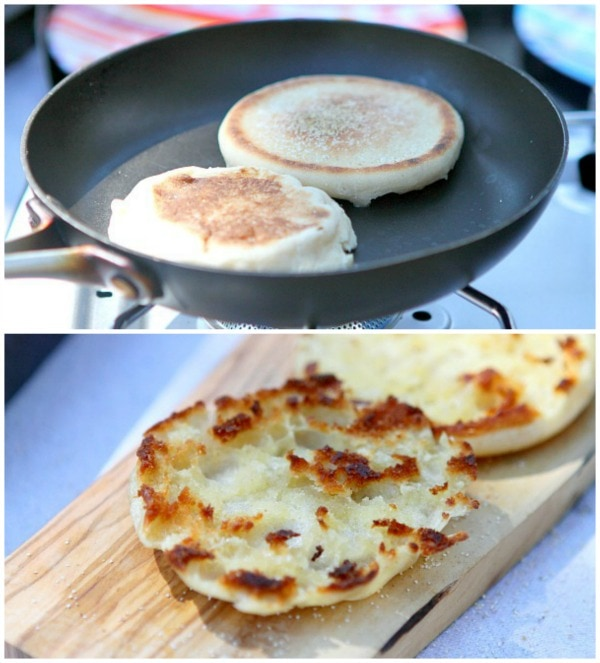 English muffins toasting in a skillet and then an after-photo of the toasted muffins
