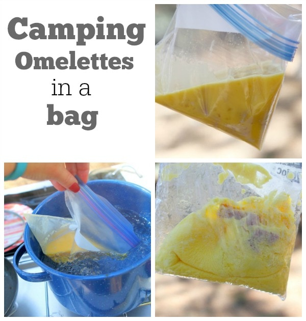 Photos showing how to make Camping Omelettes in a Bag: eggs and ham in a zip baggie, then putting the zip baggie into a boiling blue pot of water and then the cooked omelette in a bag