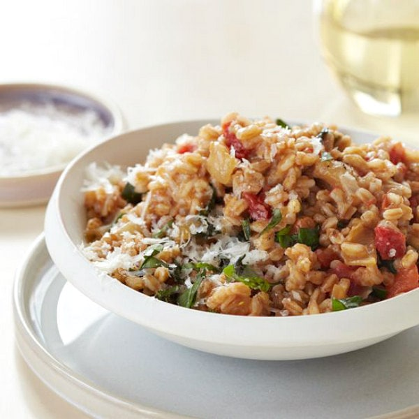 Cheesy Farro and Tomato Risotto