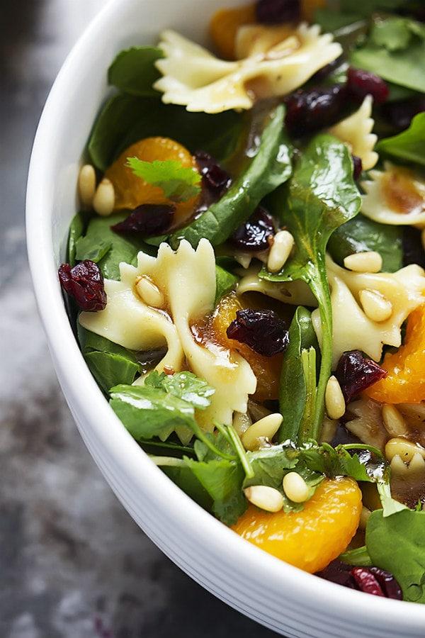 Mandarin Pasta Spinach Salad with Teriyaki Dressing - LeCremeDeLaCrumb.com