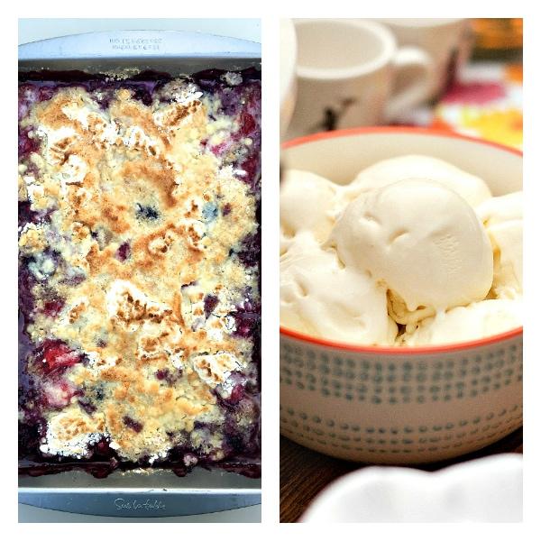 Mixed Berry Cobbler with Homemade No-Churn Vanilla Ice Cream