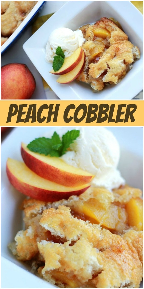 Pinterest collage image for peach cobbler