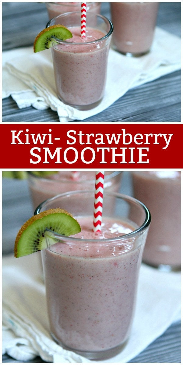 pinterest collage image for kiwi strawberry smoothie