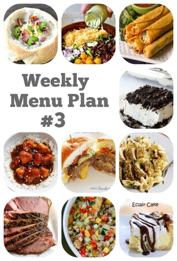 Weekly Menu Plan #3