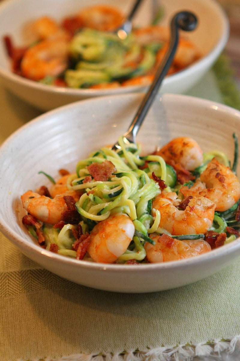 Alfredo Zoodles with Shrimp and Bacon