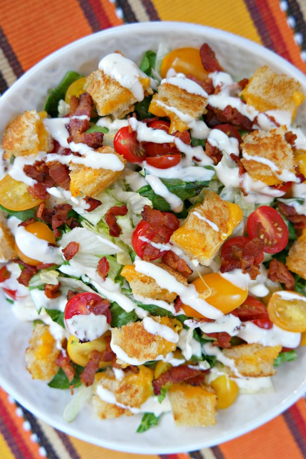 BLT Grilled Cheese Salad with Ranch Dressing - RecipeGirl.com