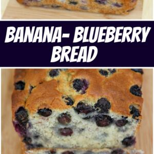 pinterest collage image for banana blueberry bread