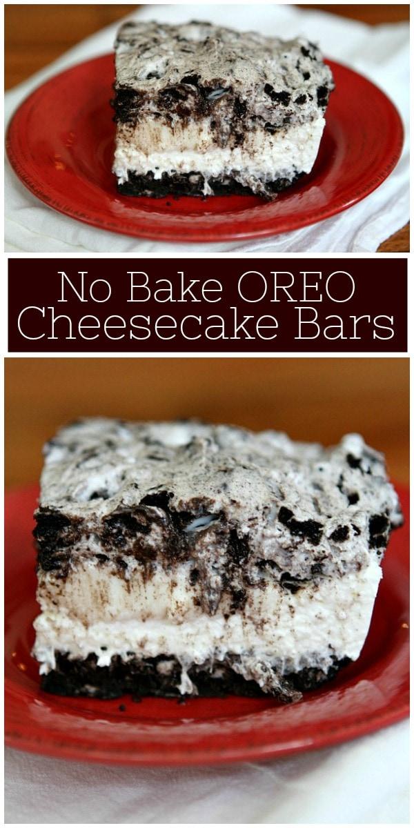 pinterest collage image for no bake oreo cheesecake bars