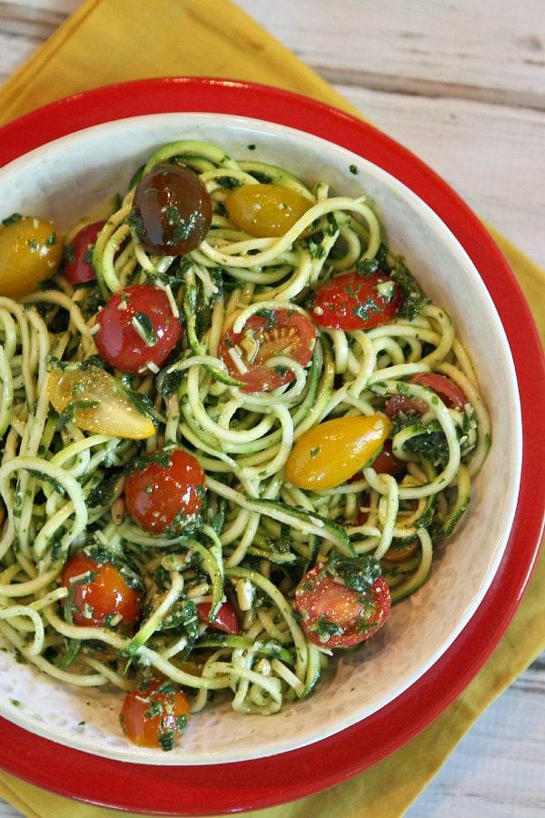 Pesto Spaghetti with Heirloom Grape Tomatoes Recipe
