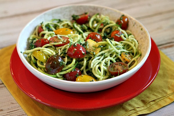 Pesto Spaghetti with Heirloom Grape Tomatoes recipe from RecipeGirl.com