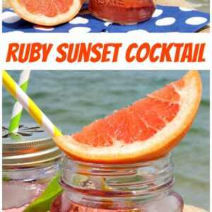 Pinterest Collage Image for Ruby Sunset Cocktail