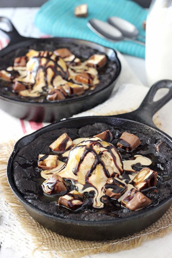 Snickers Chocolate Chip Skillet Cookie